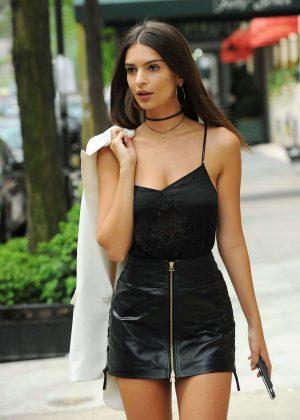 Emily Ratajkowski in Short Leather Skirt -12