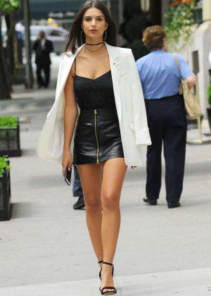 Emily Ratajkowski in Short Leather Skirt -13