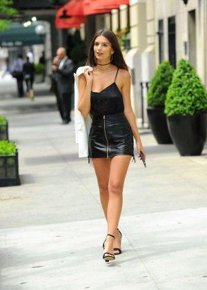 Emily Ratajkowski in Short Leather Skirt -14