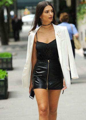 Emily Ratajkowski in Short Leather Skirt -19