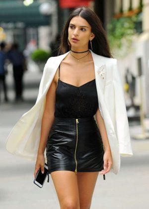Emily Ratajkowski in Short Leather Skirt -26