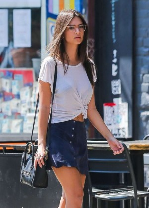 Emily Ratajkowski in Short Skirt Out in NY