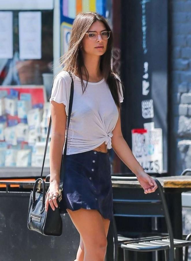 Emily Ratajkowski in Short Skirt Out in NY