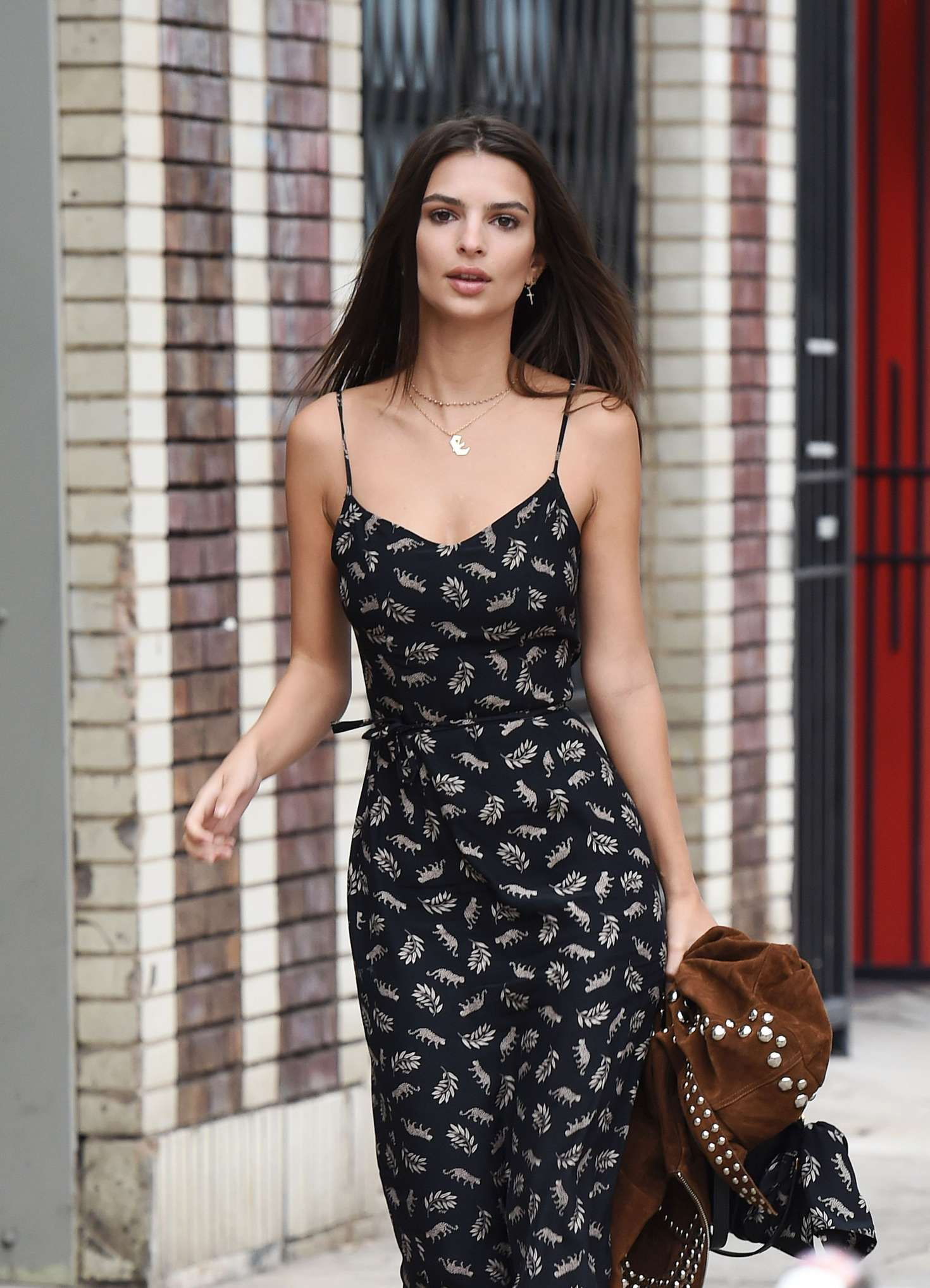 Emily Ratajkowski in Summer Dress out in Los Angeles