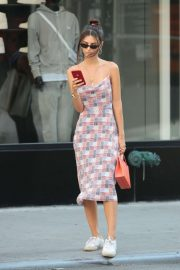 Emily Ratajkowski in Summer Dress - Out with friends in New York City