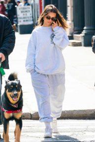 Emily Ratajkowski in Sweatsuit - Walking her dog in NYC