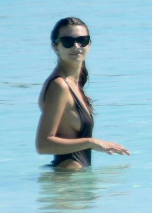 Emily Ratajkowski in Swimsuit at the beach in Cancun