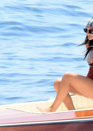 Emily Ratajkowski in Swimsuit on a boat in Positano