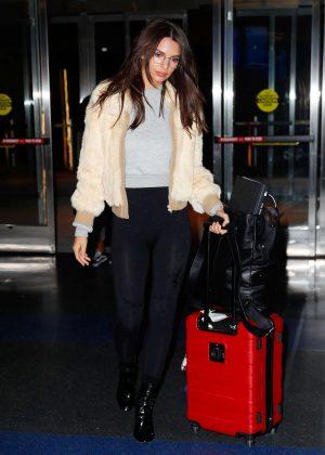Emily Ratajkowski in Tights at JFK Airport in New York