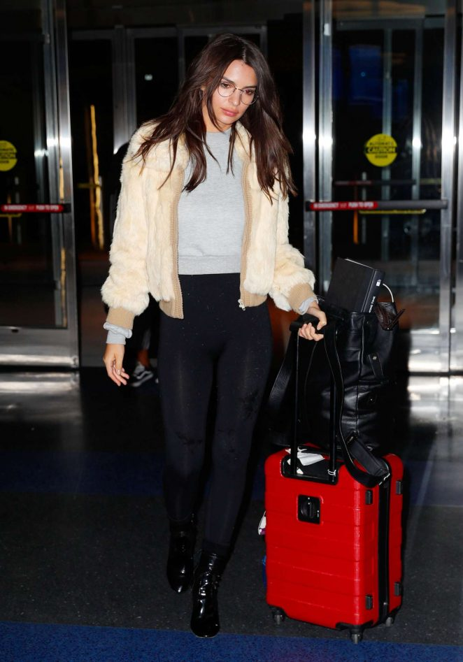 Emily Ratajkowski in Tights at JFK Airport in New York