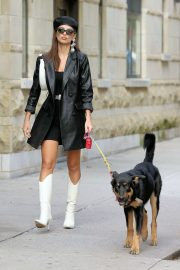 Emily Ratajkowski in White Boots and Black Leather Coat - Walking her dog Colombo in New York