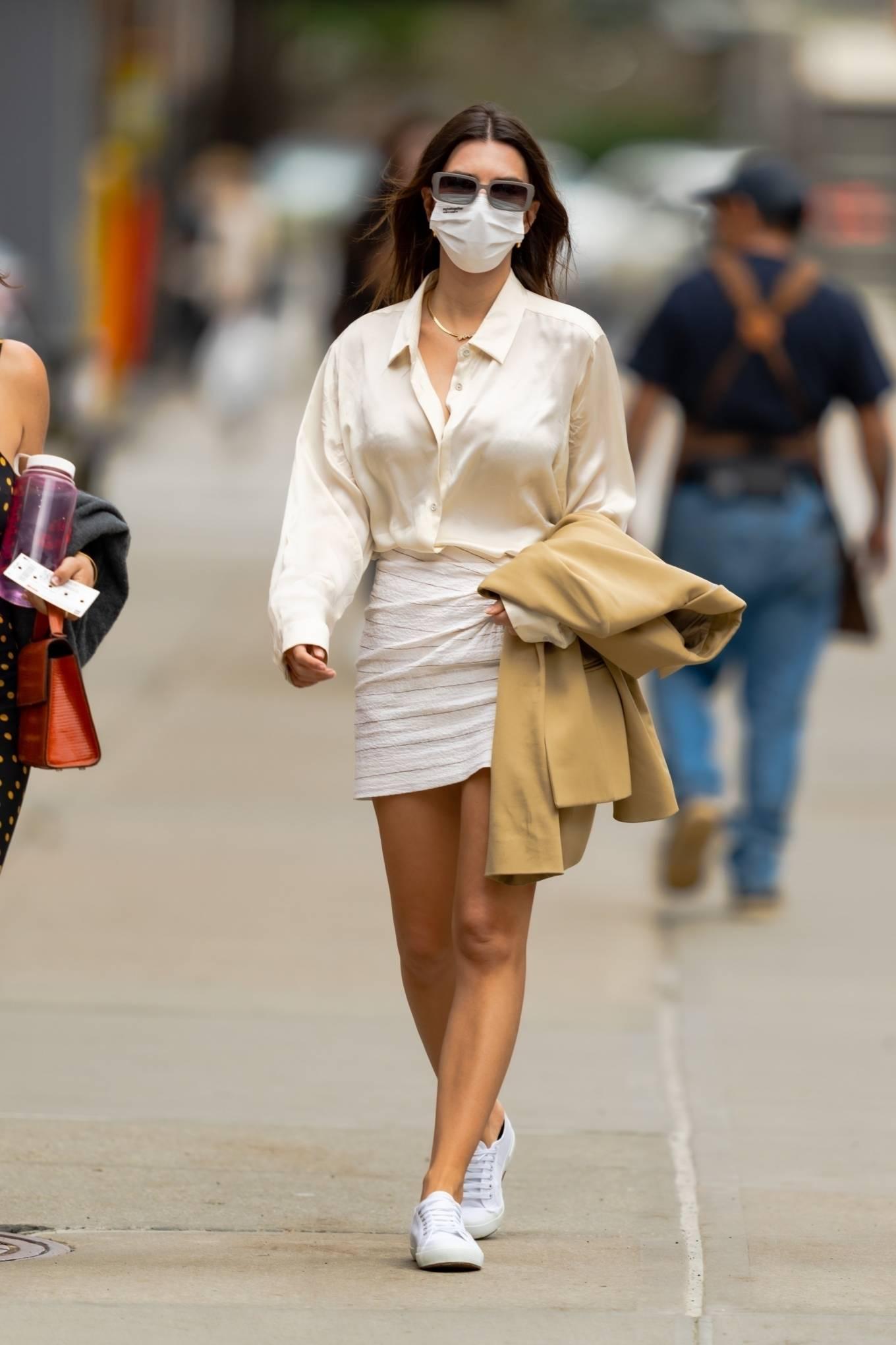 Emily Ratajkowski 2021 : Emily Ratajkowski – In white mini skirt out for a walk in New York-03