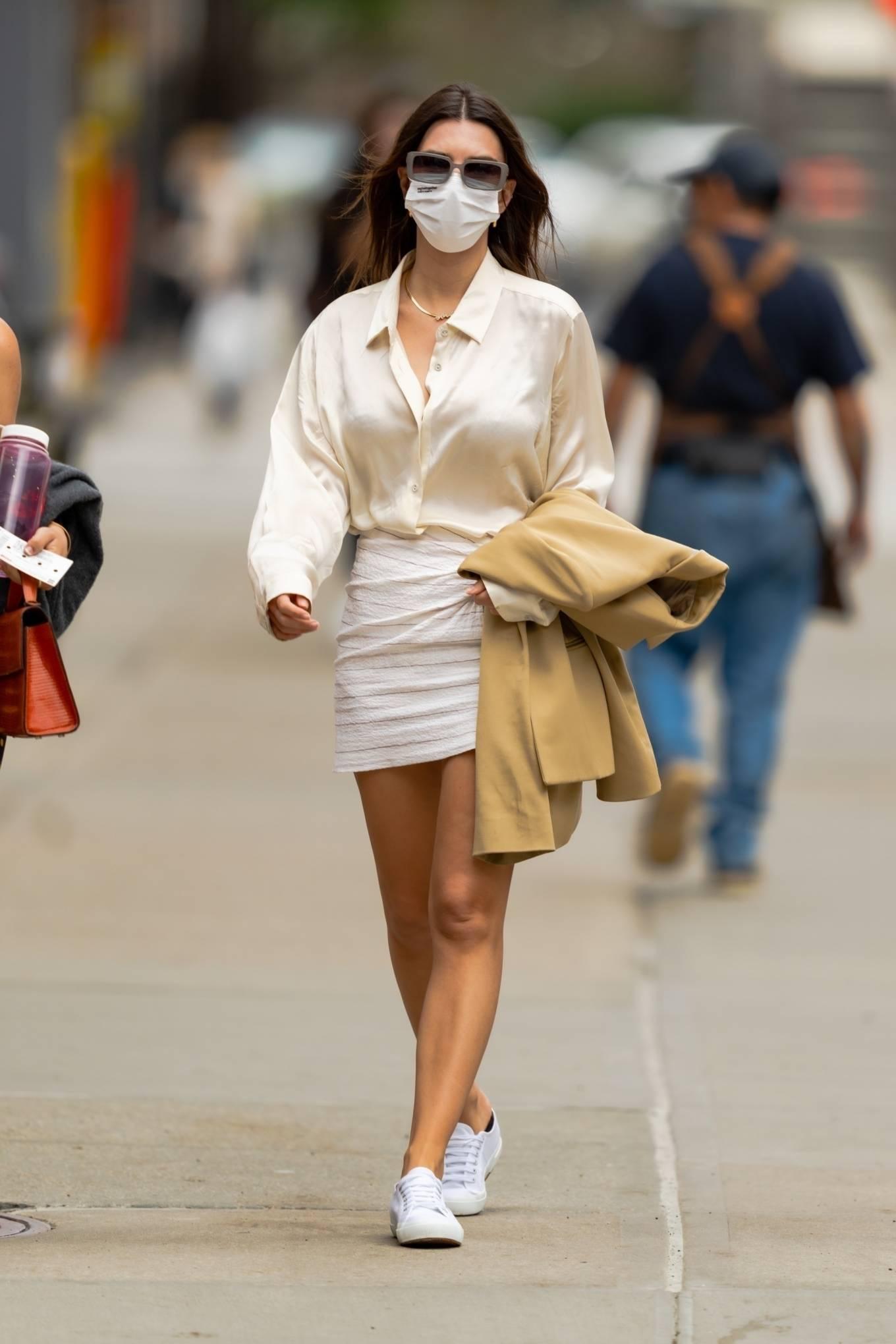 Emily Ratajkowski 2021 : Emily Ratajkowski – In white mini skirt out for a walk in New York-07
