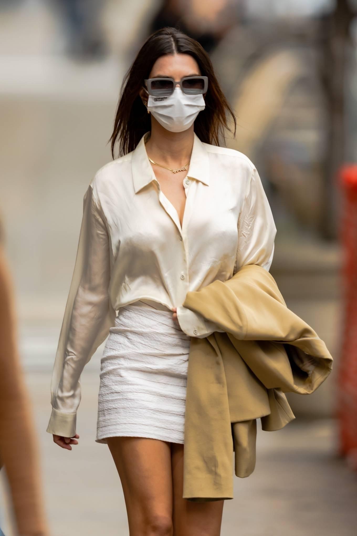 Emily Ratajkowski 2021 : Emily Ratajkowski – In white mini skirt out for a walk in New York-09