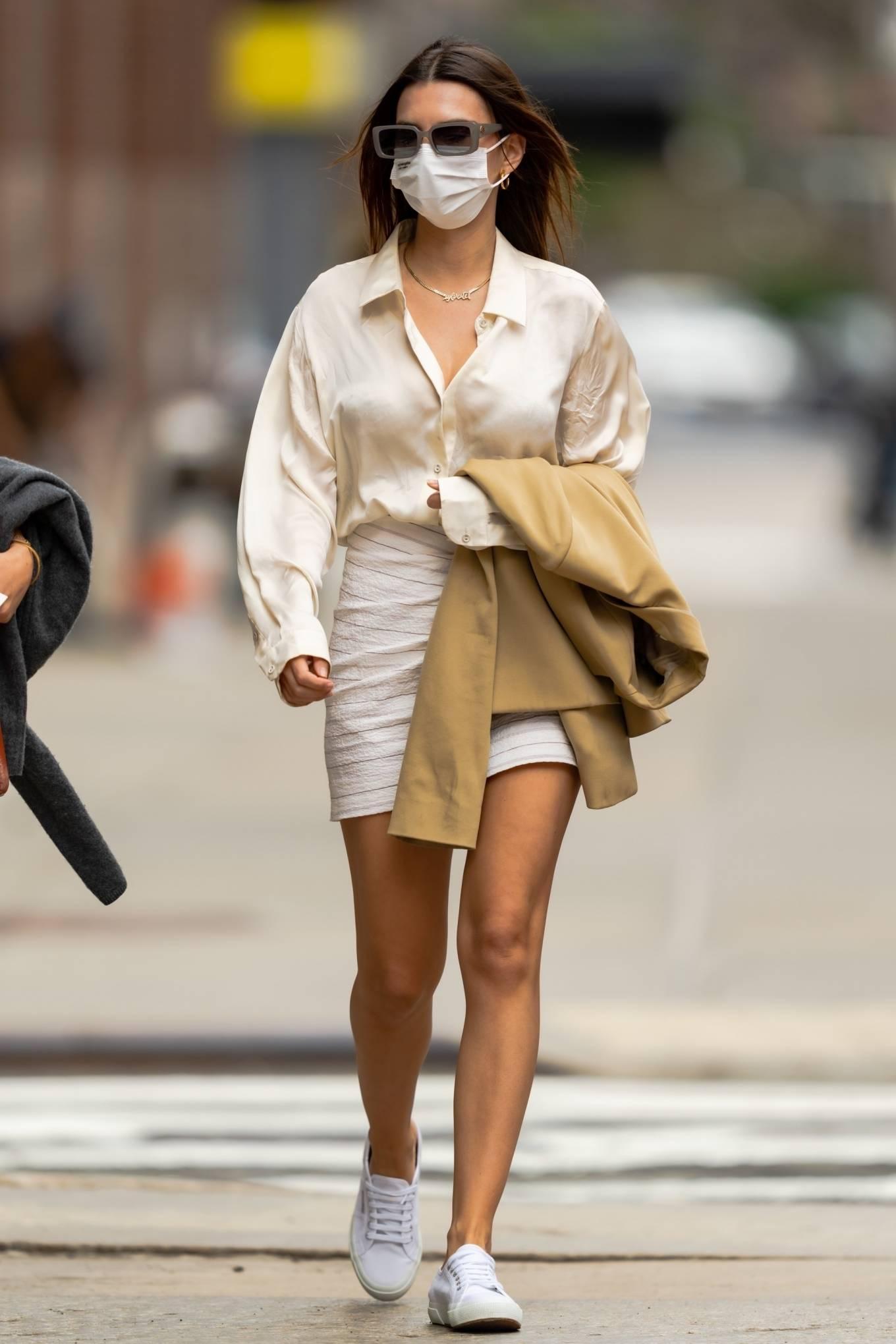 Emily Ratajkowski 2021 : Emily Ratajkowski – In white mini skirt out for a walk in New York-10