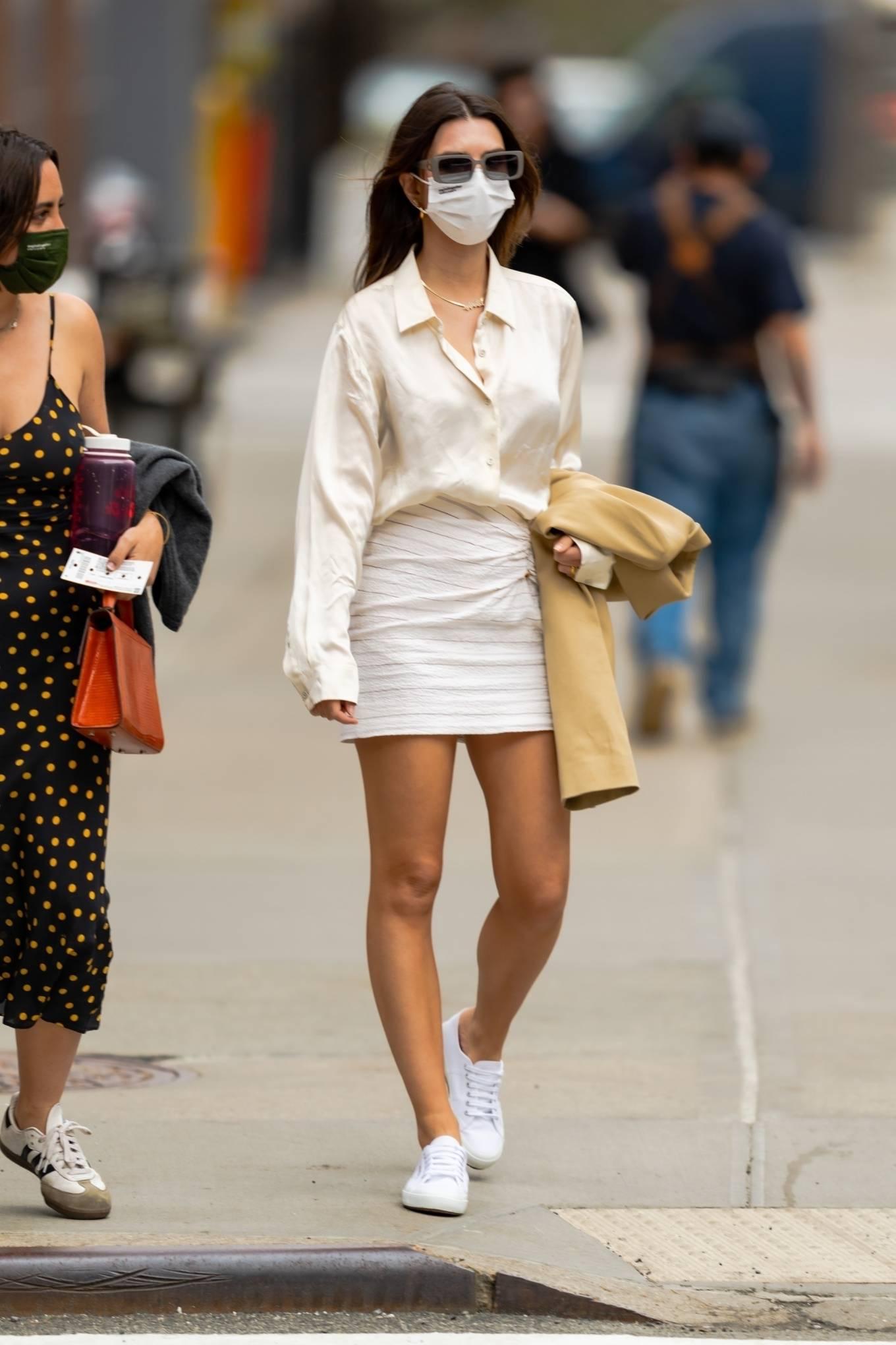 Emily Ratajkowski 2021 : Emily Ratajkowski – In white mini skirt out for a walk in New York-11