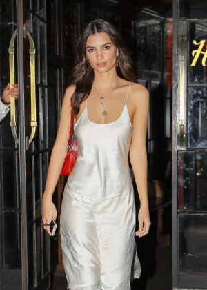 Emily Ratajkowski in White Slip Dress out in NYC