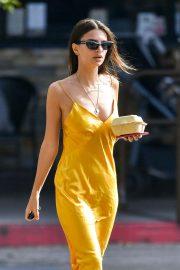 Emily Ratajkowski in Yellov Dress - Leaving the supermarket in LA