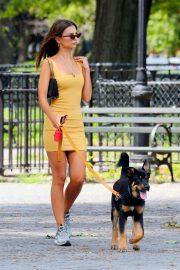 Emily Ratajkowski in Yellow Mini Dress - Walking her dog in New York City