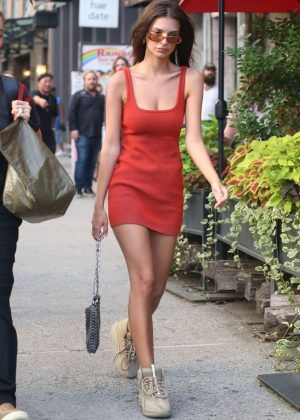 Emily Ratajkowski is Red Mini Dress - Returning to her hotel in NYC