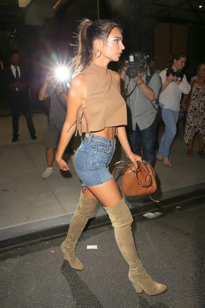 Emily Ratajkowski in Cut-offs Leaving The Daily Front Row's 4th Annual Fashion Media Awards in NYC