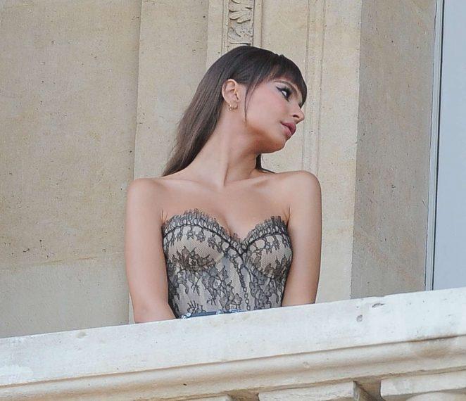 Emily Ratajkowski on a Photoshoot on a Balcony in Paris