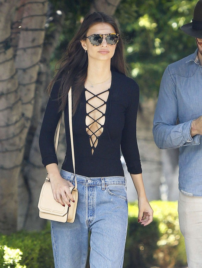 Emily Ratajkowski in Jeans and Tank Top Out in LA