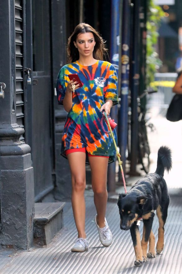 Emily Ratajkowski - out in full color shirt with her dog in New York