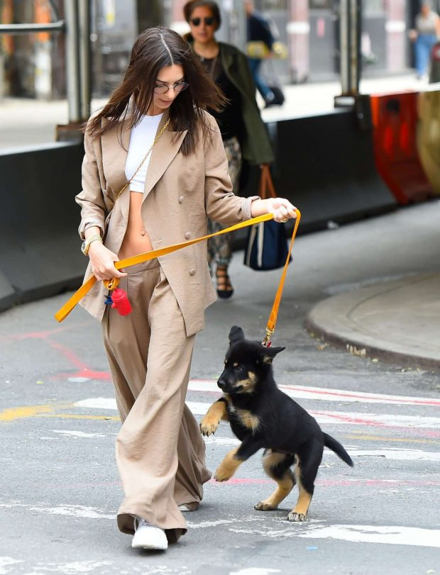 Emily Ratajkowski - Out with her puppy in New York City