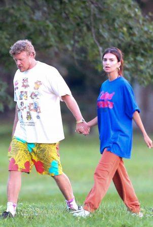 Emily Ratajkowski - seen with her husband in the Hamptons