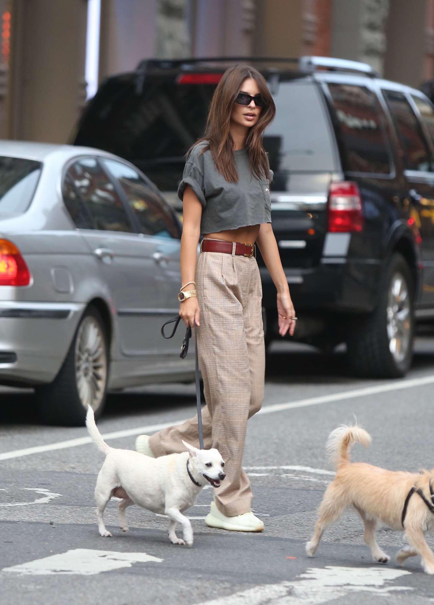 Emily Ratajkowski - Shopping with dogs in Soho