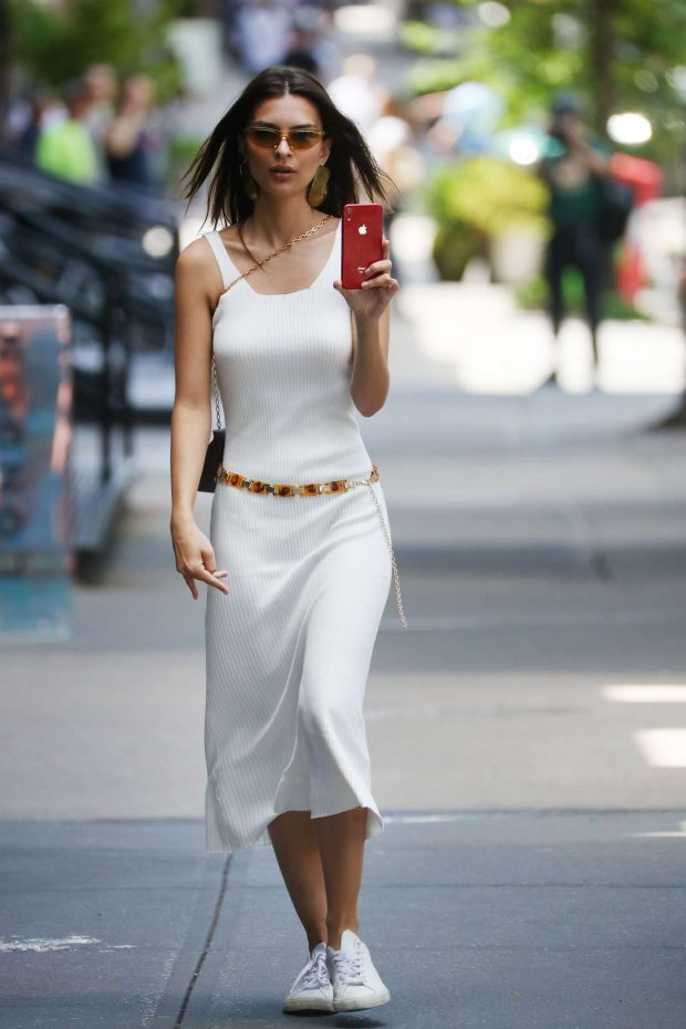 Emily Ratajkowski: Spotted on her phone in NYC -03