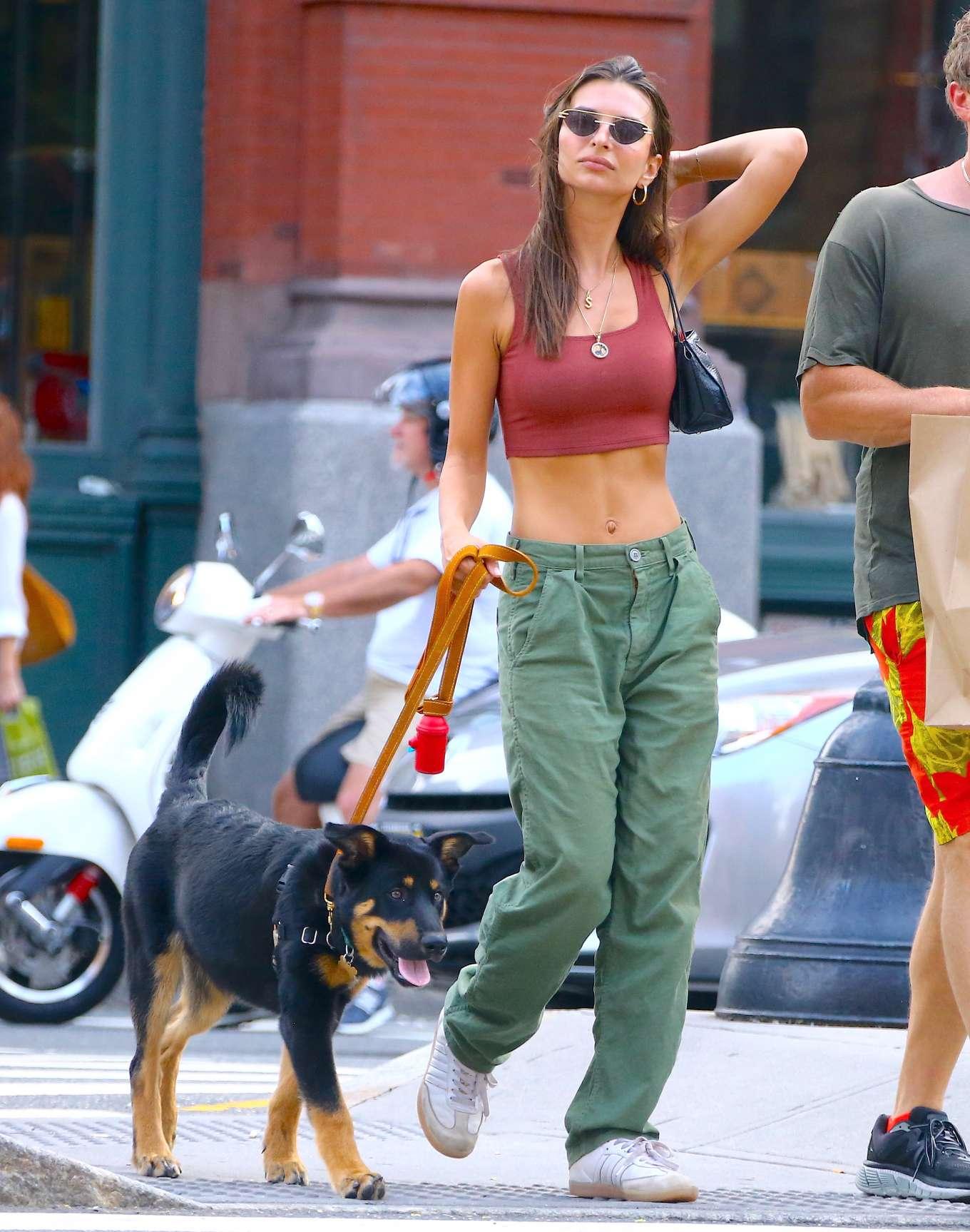 Emily Ratajkowski - Spotted walking her dog in New York City