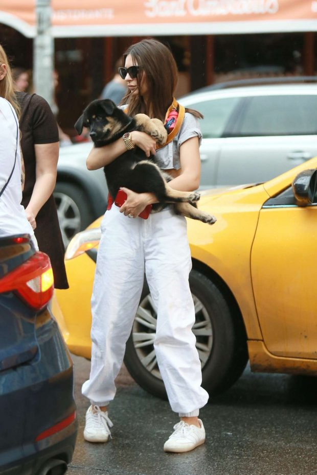 Emily Ratajkowski - Spotted with her dog whaile leaving Sant Ambroeus in NYC