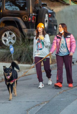 Emily Ratajkowski - Stroll with a friend and her dog in Los Angeles