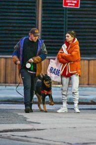 Emily Ratajkowski - Walking her dog Colombo in New York with her huseband