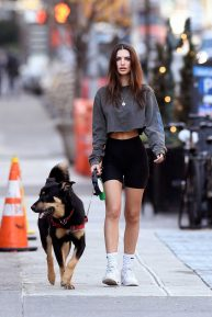 Emily Ratajkowski - Walks her dog in New York City