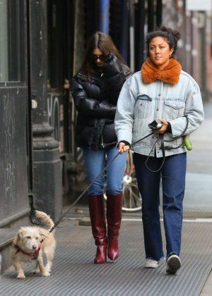 Emily Ratajkowski with a friend in New York