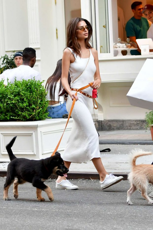 Emily Ratajkowski - With her dog out in NYC