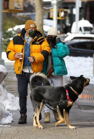 Emily Ratajkowski - With Sebastian Bear-Mcclard walk their dog Colombo in New York