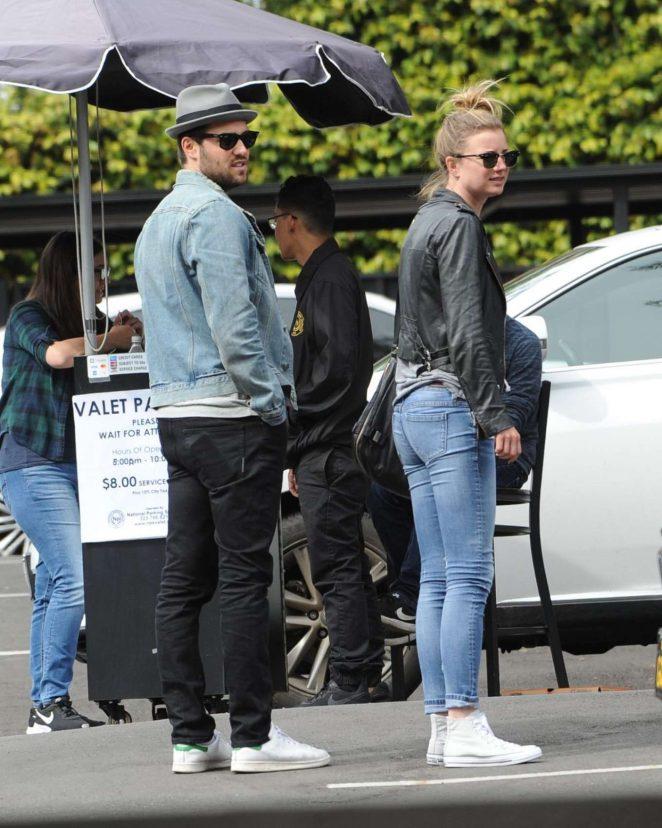Emily VanCamp and Josh Bowman - Leaving Little Dom's Restaurant in Los Feliz