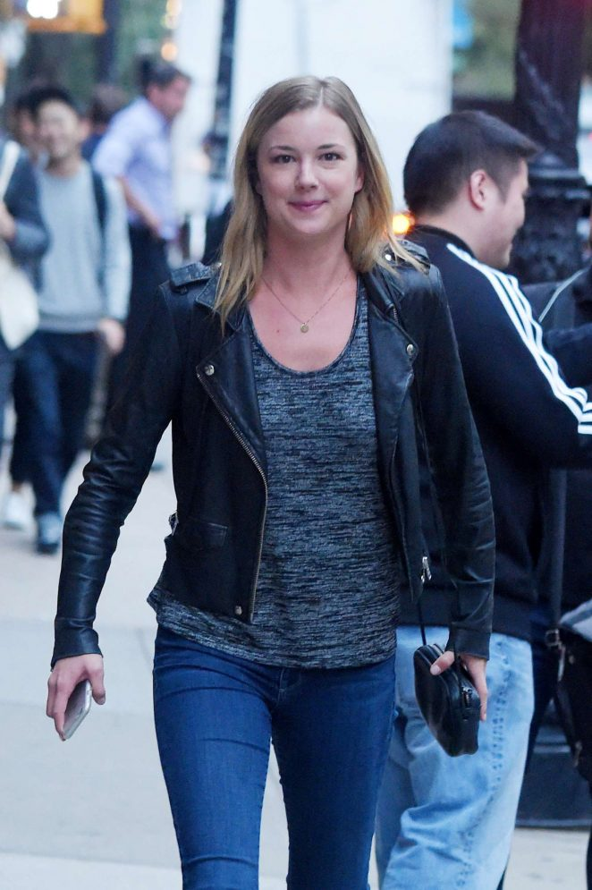 Emily VanCamp in Jeans and Leather Jacket out in Tribeca