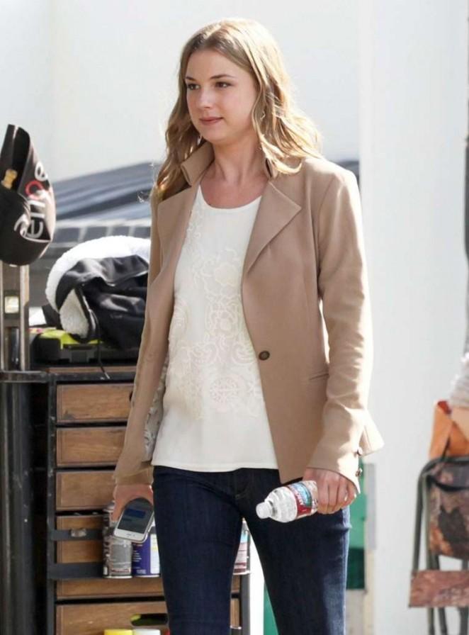 Emily VanCamp on the set of 'Revenge' in Santa Monica