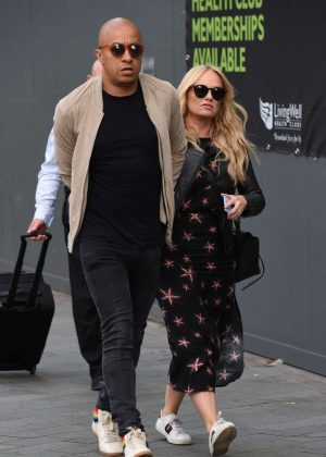 Emma Bunton with Jade Jones out in Manchester