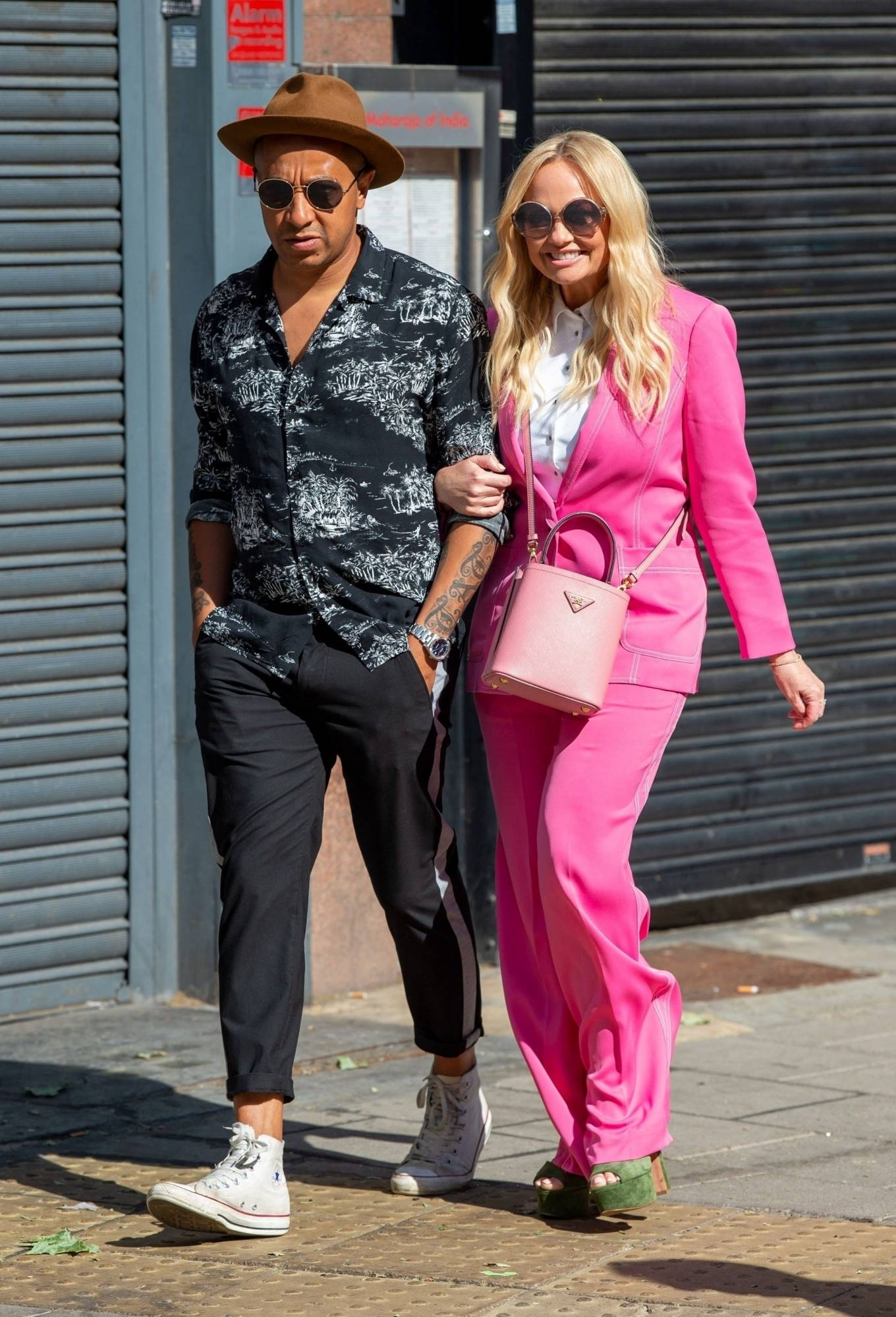 Emma Bunton - With pink Dior Bag on the Heart Breakfast show in London