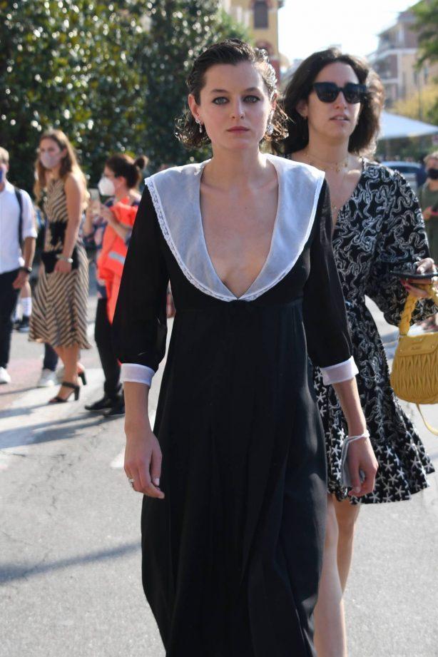 Emma Corrin arrives at 2020 Venice Film Festival
