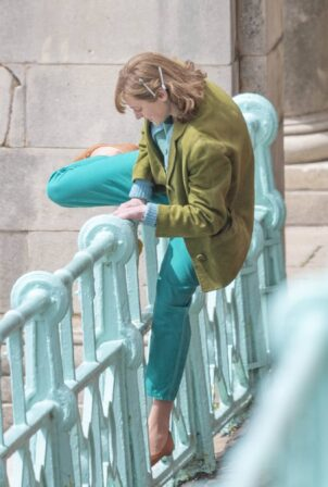 Emma Corrin - films 'My Policeman' with Harry Styles in Brighton