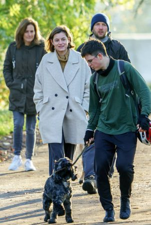 Emma Corrin - walk with a male friend in North London