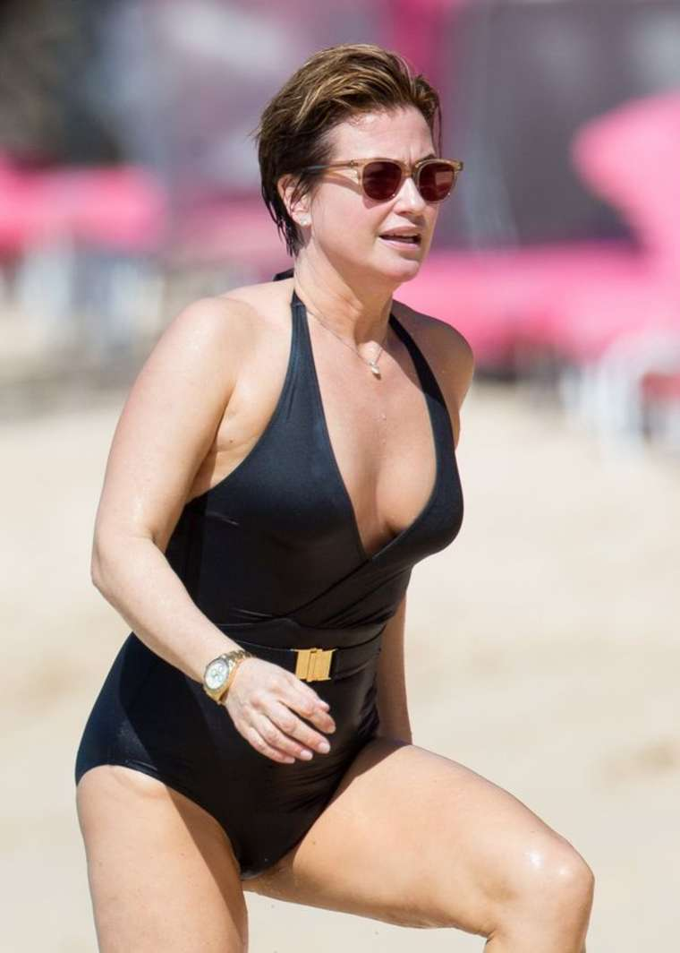 Emma Forbes In Black Swimsuit In Barbados Gotceleb