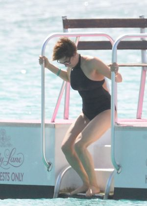 Emma Forbes in Black Swimsuit in Barbados